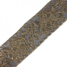 Broderie d'Orient embroidered lurex ribbon 73 mm - gold/black