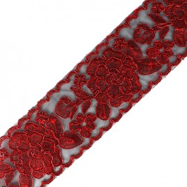 Broderie d'Orient embroidered lurex ribbon 73 mm - red x 50cm