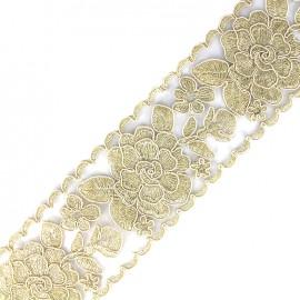 Broderie d'Orient embroidered lurex ribbon 73 mm - ecru 50 cm