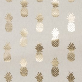 Cotton canvas linen look fabric Metallic - Pineapple x 16cm