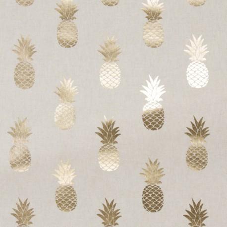 Tissu toile coton aspect lin Metallic - Pineapple x 16cm