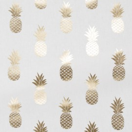 Tissu toile coton Metallic - Pineapple x 16cm