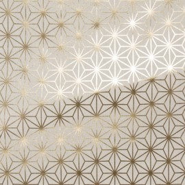 Tissu toile coton aspect lin Metallic - Geo stars x 16cm