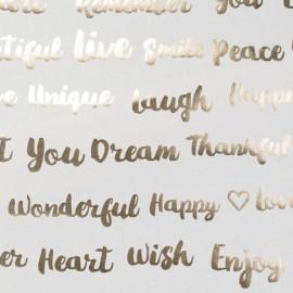 Tissu toile coton Metallic - Words x 64cm
