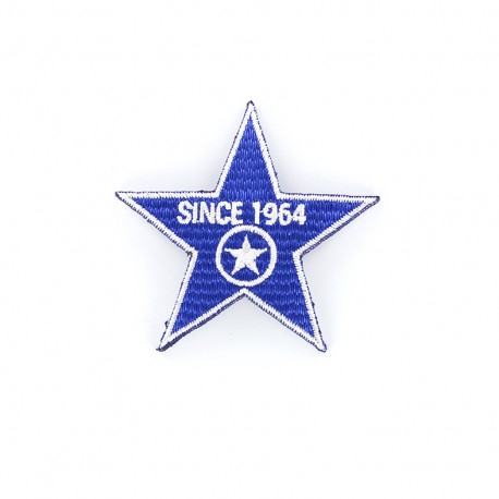 1964 Embroidered iron-on patch - blue