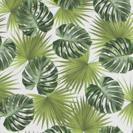 Tissu toile coton impression digitale - Green leaves all over x 64cm