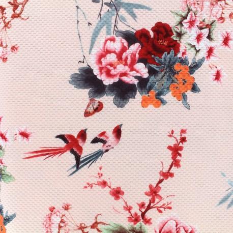 Tissu jersey gaufré Romantic blossom - rose x 10cm