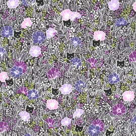 Tissu coton London calling 7 Cats - purple x 10cm