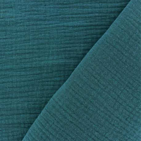 Tissu double gaze de coton MPM - paon x 10cm