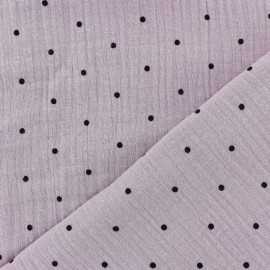 Double gauze fabric MPM - rose water and black dots x 10cm
