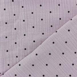 Tissu double gaze de coton MPM - eau de rose et pois noirs x 10cm