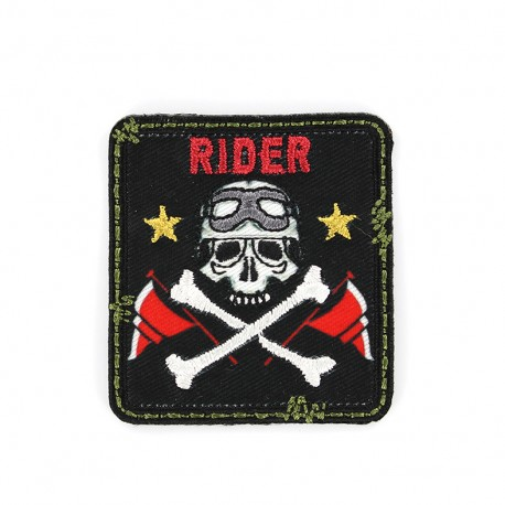 Biker Embroidered iron-on patch - black