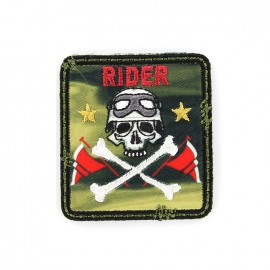 Biker Embroidered iron-on patch - khaki