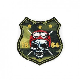 Biker Embroidered iron-on patch - khaki escutcheon