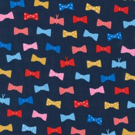 Cotton fabric London calling 7 Bow Tie - Navy x 10cm