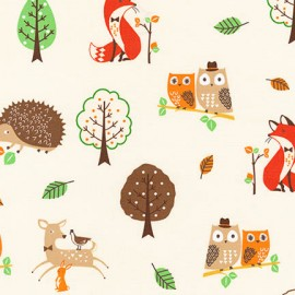 Tissu coton Forest Fellows 2 Animaux - Forest x 10cm