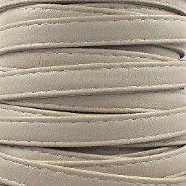Leatherette strap - pearl grey x 1m