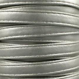Leatherette strap - silver x 1m