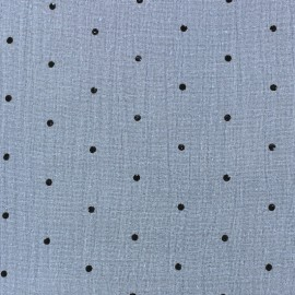 Double gauze fabric MPM - bleu niagara and black dots x 10cm