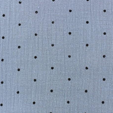 Double gauze fabric MPM - niagara and black dots x 10cm