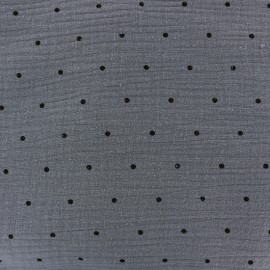 Double gauze fabric MPM - blue grey and black dots x 10cm