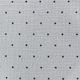 Tissu double gaze de coton MPM - gris perle et pois noirs x 10cm