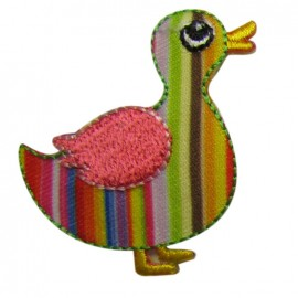 Stripped duck iron-on applique - multicolored