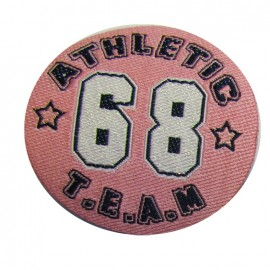 Badge Athletic Team 68 iron-on applique - pink