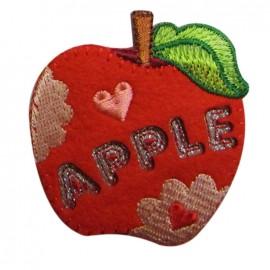 Felt-fabric Apple iron-on applique - red