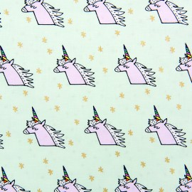 Rico Design jersey fabric Licorne - mint/gold x 10cm