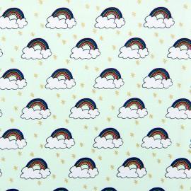 Tissu coton Rico Design Rainbow - menthe/or x 10cm