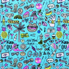 Rico Design cotton fabric Cool girls - neon/blue x 10cm