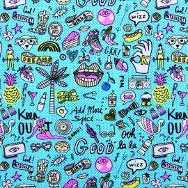 Tissu coton Rico Design Cool girls - neon/blue x 10cm
