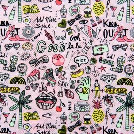 Tissu coton Rico Design Cool girls - neon/rose x 10cm