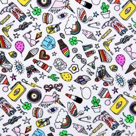 Tissu coton Rico Design Icônes - blanc x 10cm