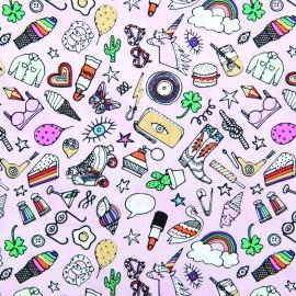 Rico Design cotton fabric Icones - pink x 10cm