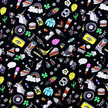Rico Design cotton fabric Icones - black x 10cm