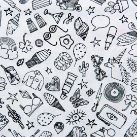 Tissu coton Rico Design Icônes - noir/blanc x 10cm