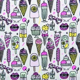 Tissu coton Rico Design Ice cream - blanc/rose neon x 10cm