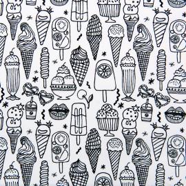 Tissu coton Rico Design Ice cream - noir/blanc x 10cm