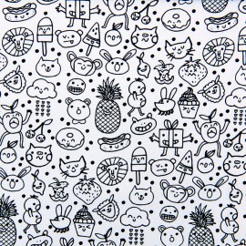 Tissu coton Rico Design Minois - noir/blanc x 10cm