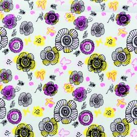 Tissu coton Rico Design Blossoms - menthe/neon x 10cm