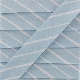 Biais DMC Petites rayures 20 mm - bleu  x 1m