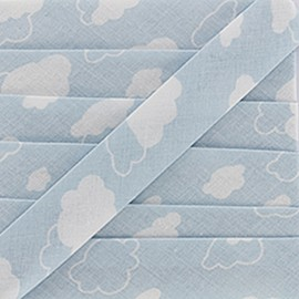 Biais DMC Joli nuage 20 mm - bleu  x 1m