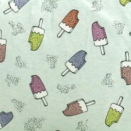 Tissu Jersey Shiny Ice cream - vert d'eau x 10cm