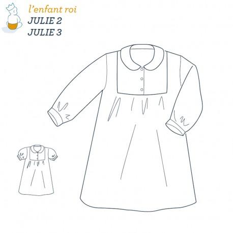 Patron l'Enfant Roi Chemise de nuit Julie - de 2 ans à 12 ans
