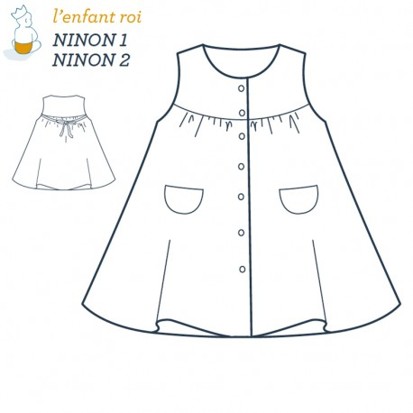 Ninon Dress L'Enfant Roi sewing pattern - From 3 months to 6 years old