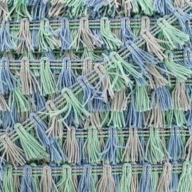 Galon Petits pompons à franges - multi bleu ciel x 1m