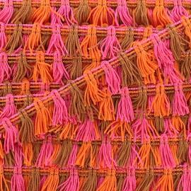 Little pompom fringe braid ribbon - multi orange x 1m