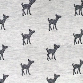 Light sweat fabric Bambi Glitter - anthracite/ecru x 10cm